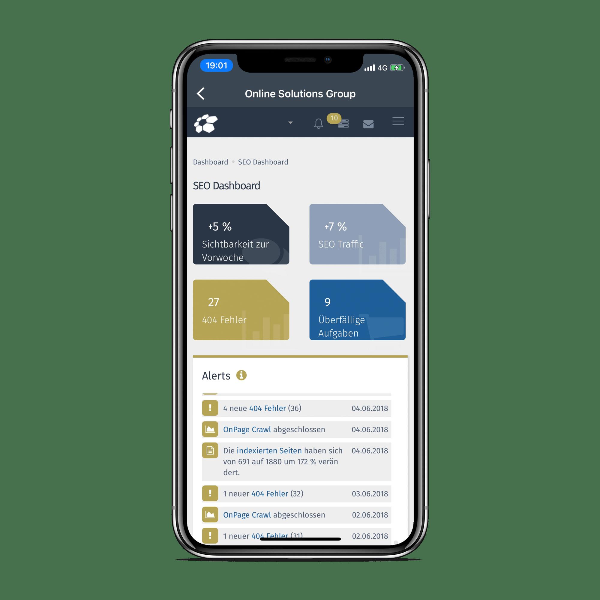 Beispielhaftes SEO-Dashboard im OSG Performance Suite der Online Solutions Group