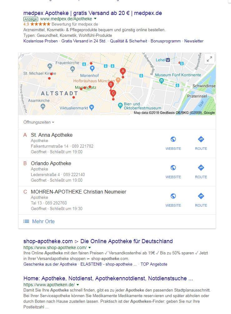Universal Search Beispiel mit Maps Integration für das Keyword Apotheke