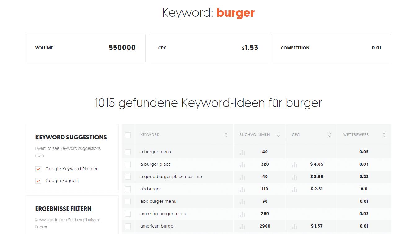 Beispielhafte Keywordrecherche mit dem Tool Ubersuggest