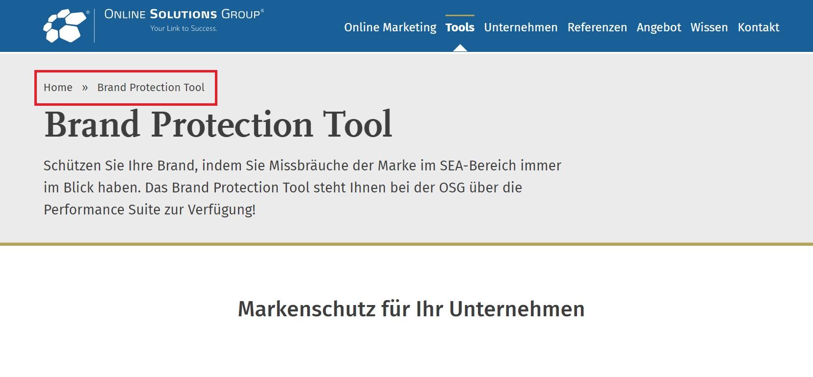 Breadcrumbs Beispiel bei der OSG Website