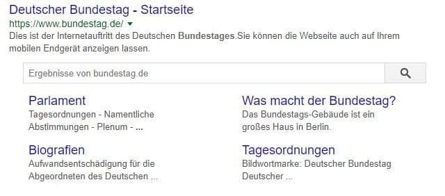 """Deep Links bei der Google Suche """"bundestag"""""""