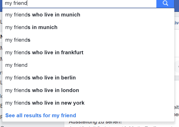 Beispielhafte Suchanfrage mit der Facebook Graph Search