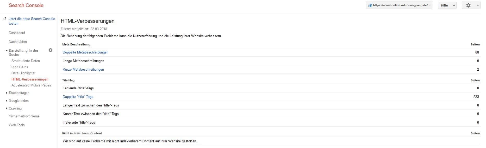 HTML-Verbesserungen der Google Search Console