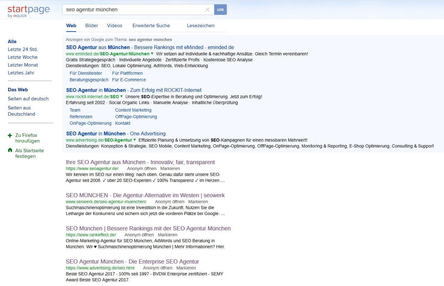 Ixquick Suchergebnisseite