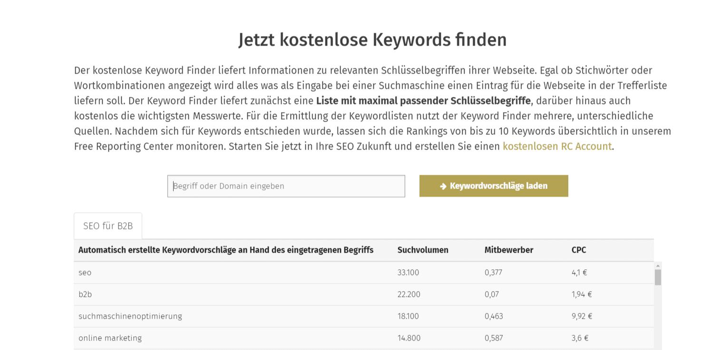 Beispiel für eine Keywordrecherche mit dem Keyword Finder der OSG