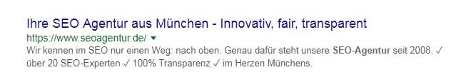 Meta Daten der seoagentur.de