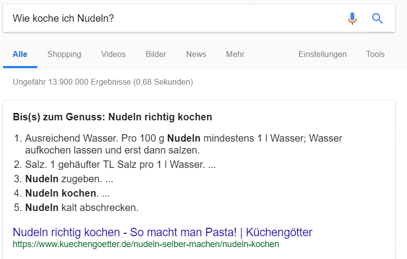 Featured Snippet Anleitung