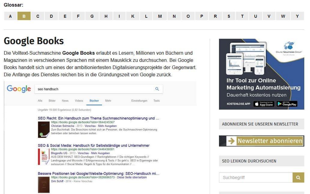 Beispiel eines Glossarbeitrags der seoagentur.de