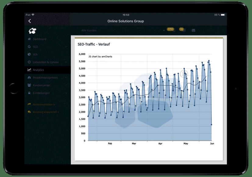 Analytics Traffic Entwicklung