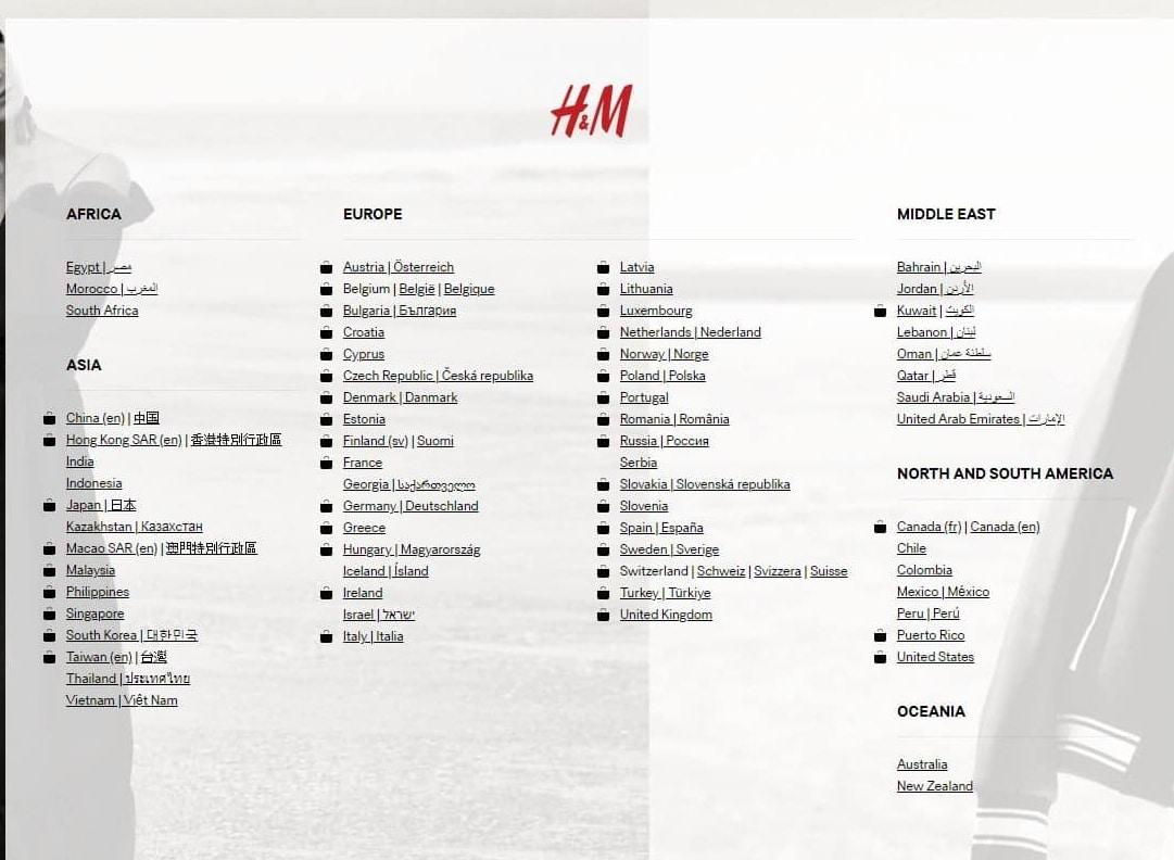 Internationales SEO - Beispiel für eine Einstiegsseite von H&M